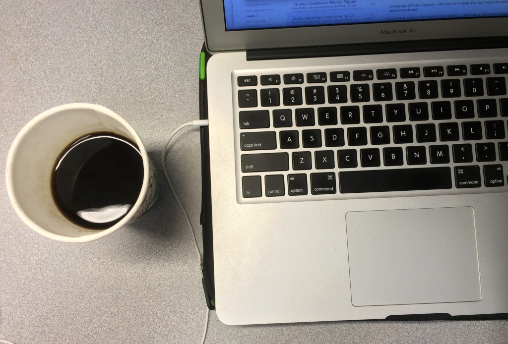 Main staples of life: coffee and computer. (Photo by Author)