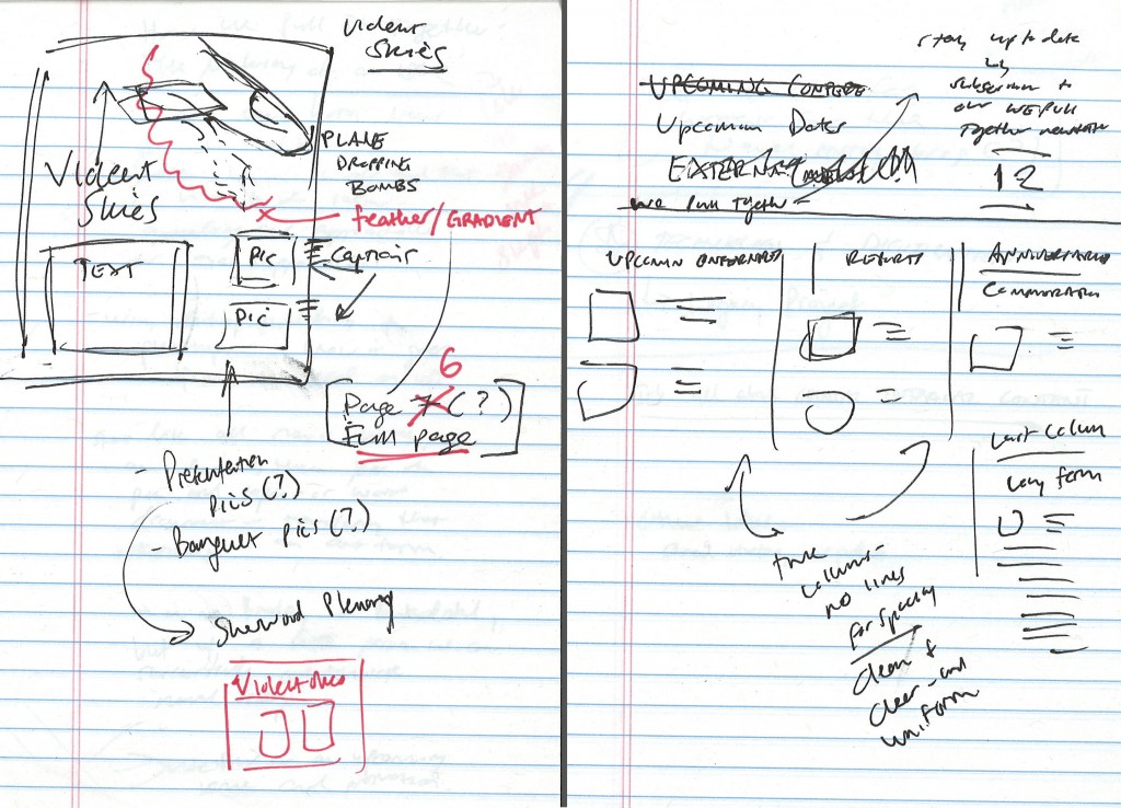My scribbles for the design process of the Violent Skies page (left) and Upcoming Events page (right)