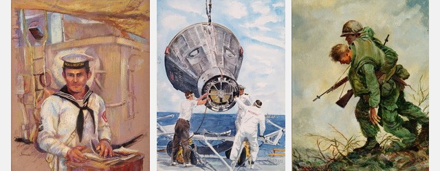 Select images from the NACAL Collection: Aboard the Libertad, by Cathy Evans Babcock; Gemini 5 Lift Off, by Luis Llorente; Bravo Company Wounded - DMZ, by Charles Waterhouse