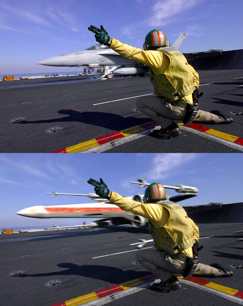 """PERSIAN GULF (Feb. 7, 2008) Lt. Stephen Weeks, a """"Shooter"""" on the flight deck of the Nimitz-class aircraft carrier USS Harry S. Truman (CVN 75), gives the signal for an F/A-18E Super Hornet to launch off ship. Truman and embarked Carrier Air Wing (CVW) 3 are deployed supporting Operations Iraqi Freedom, Enduring Freedom and maritime security operations. U.S. Navy photo by Mass Communication Specialist Seaman Justin L. Losack (Released)/Reddit/Funnymama.com"""