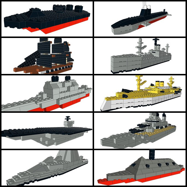 Some of the ship designs you can build at this year's event: USS Monitor, USS Seawolf, USS Cumberland, USS Liberty, USS Gettysburg, USS Maine, USS Harry S Truman, USS Wisconsin, USS Zumwalt, CSS Virginia (Courtesy HRNM/Don Darcy)