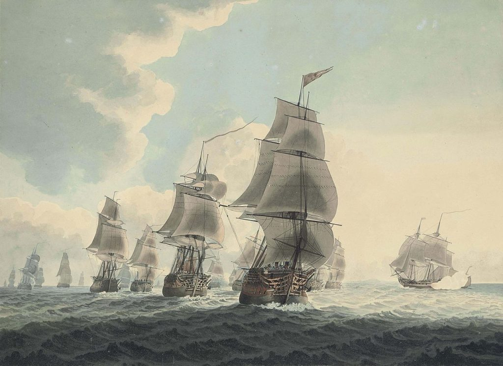 A squadron of the Royal Navy running down the Channel and An East Indiaman preparing to sail, by Samuel Atkins (Christies/Wikimedia Commons)
