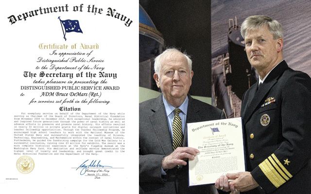 Admiral DeMars' DPS certificate and photo with Director of the Navy Staff, Vice Admiral Robert Thomas. (NHF Photo)