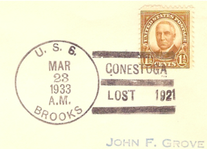 USS BROOKS commemorative cancel  for the loss of the CONESTOGA. Even President  Harding seems to have a sad countenance.