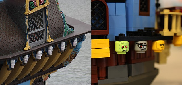 "The ""Angel Faces"" of Kalmar Nyckel in real life and in LEGO form. (NHF Photo/Matthew Eng/Released)"