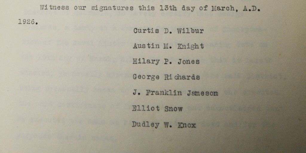 The original seven signee of the Naval Historical Foundation certificate of incorporation typed from the first meeting minutes on 23 March 1926. (NHF photo)
