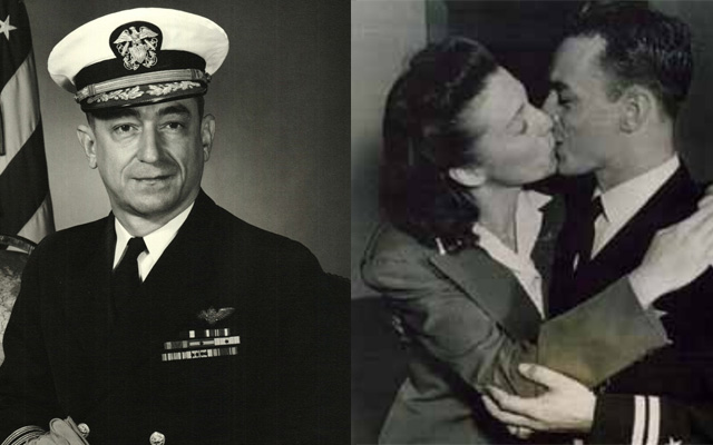 "Captain Jack ""Dusty"" Kleiss retirement photo, 1962; Kleiss with wife Jean, 1942 (Images provided by Jack Kleiss/Hampton Roads Naval Museum/Laura Orr)"