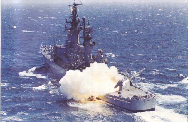 Stern view, Firing Terrier missile from stern launcher. (US Navy Photo/NAVSource)
