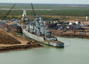 USS England (CG 22) undergoing dismantlement at International Shipbreaking Limited on 15 JAN 2004. (NAVSOURCE)