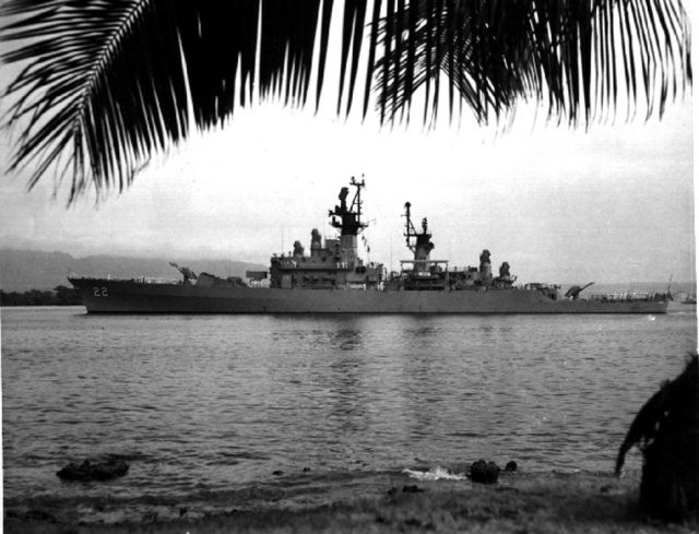 USS England (DLG 22) departing Pearl Harbor heading for a WestPac deployment in June 1968. U.S.Navy photo by PH3 R. Hartkopp.