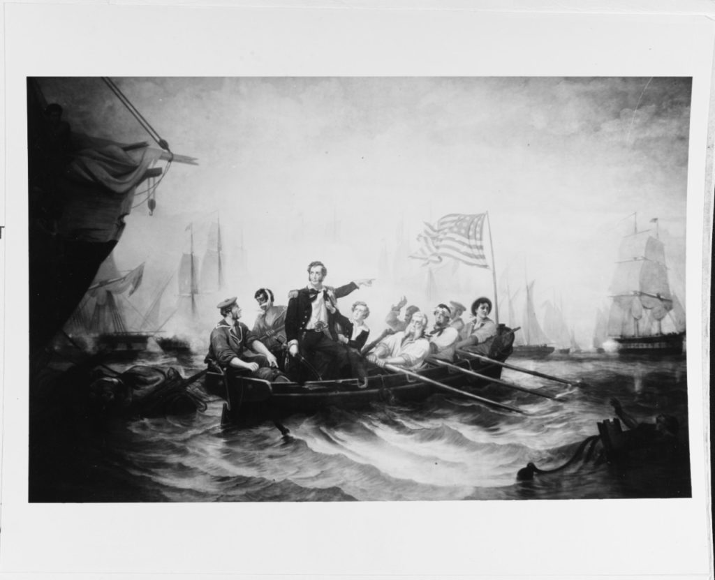Painting by William H. Powell, depicting Commodore Oliver Hazard Perry transferring his flag from the disabled U.S. Brig Lawrence to the U.S. Brig Niagara, at the height of the action. (NHHC Photo $# KN-621)