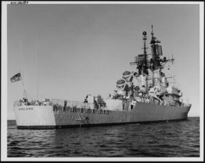 (DLG-22) Off Bath, Maine on 18 May 1971. (Official U.S. Navy Photograph, from the collections of the Naval History and Heritage Command # NH 106507)