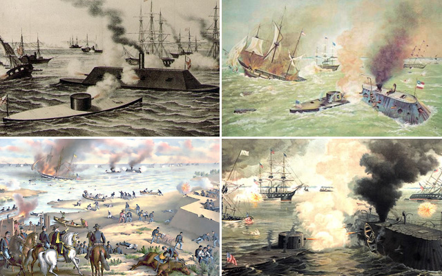 "Many of the paintings depicting the battle tend to summarize the entirety of the two-day battle in one image, showing the destruction of Cumberland alongside the duel between ironclads. The more realistic paintings show the two ironclads in pitched battle with the surrounding sailors and soldiers watching them in the middle of the water in what Craig Symonds compared to an ""amphitheater"" akin to the Roman Coliseum."