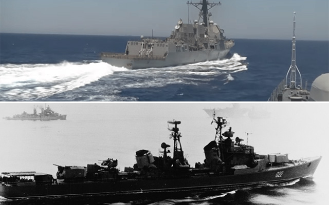 USS Gravely on June 17, 2016 from the deck of Russian frigate Yaroslav Mudry. (Image courtesy RT via USNI News); serving refueling operations between USS HORNET (CVS-12) and USS TALUGA (AO-62) in the Sea of Japan, 9 May 1967. USS WALKER (DD-517) is in right background. (NHHC Photo # USN 1123797)
