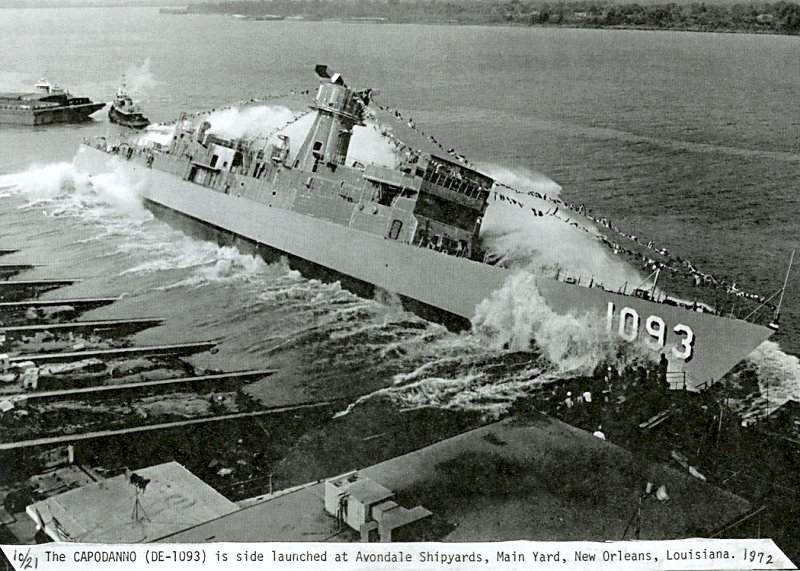 21 October 1972: Westwego, La. - The USS Capodanno (DE 1093) is side launched at the Main Yard of Avondale Shipyards (NAVSOURCE)