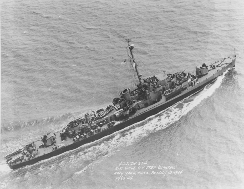 USS RUDDEROW (DE-224) off the Philadelphia Navy Yard, 15 July 1944. (NHHC/Natl Archives Photo # 19-N-69262)