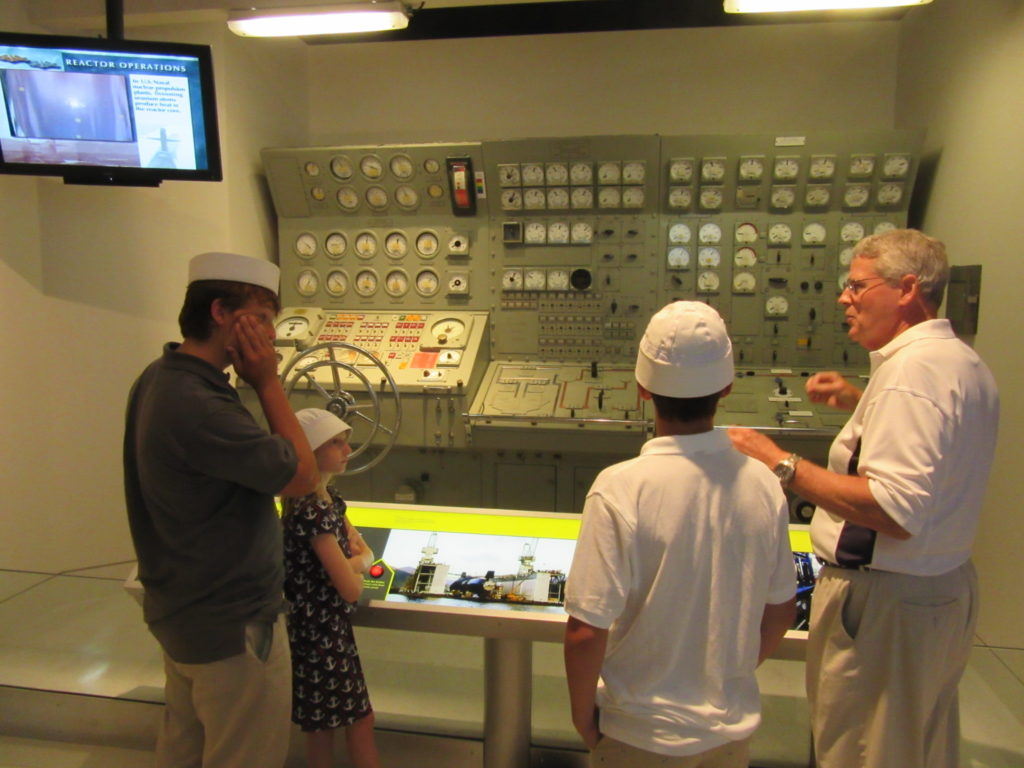 Mike Wallace and family visit the National Museum of the United States Navy's Cold War Gallery. (NHF Photo)