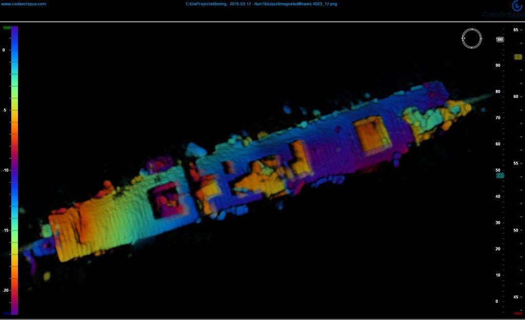 3D Side Scan Sonar image of the Independence on the bottom, roughly 2,700 feet down off Half Moon Bay CA from the joint mission (Navy, NOAA, Boeing, Coda Octopus) in 2015. The bow on the left side.(Image courtesy of Coda Octopus & NOAA)