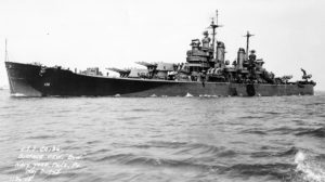 The U.S. Navy Baltimore-class heavy cruiser USS Chicago (CA-136) off the Philadelphia Navy Yard, Pennsylvania (USA), 7 May 1945. (USN Photograph/NAVSOURCE)