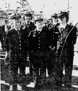 Five Female Officers Ready to Serve Aboard Navy Ships, including Ensign Brest aboard USS Puget Sound (The Reading Eagle, 2 November 1978)