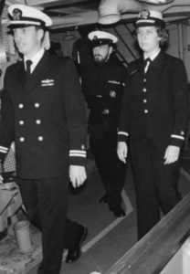 Ensign Elizabeth Bres tours the destroyer tender USS Puget Sound in November 1, 1978. Bres was one of the first group of women officers to be assigned duty on Navy ships. (NHHC Photo/James L. Leuci, ITCM, USN (Ret.))